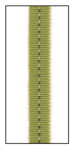 Olive Grosgrain with a Running Green Stitch Ribbon 9mm