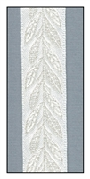 Metallic Leaves on White Woven Ribbon 16mm