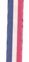 Red, White and Blue Stripe Vintage Grosgrain Ribbon 16mm