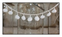 White Pom Pom Fringe 25mm Trim with 10mm Balls