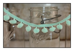 Mint Pom Pom Fringe 25mm Trim with 10mm Balls