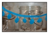 Turquoise Pom Pom Fringe 25mm Trim with 10mm Balls